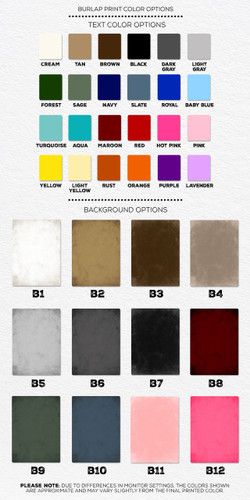 Burlap Print Color Options
