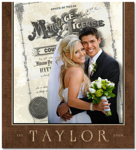 Wedding Photo with marriage license background