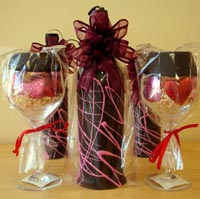 Chocolate Covered Wine Bottle and Glasses