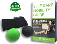 WODshop Self Care Massage Ball Kit of 2 Balls for Mobility, Physical Therapy - 1 Green, 1 Black