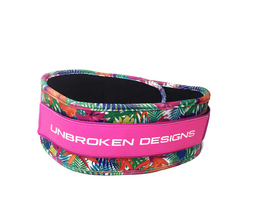 "Unbroken Designs | Paradise Pink 4"" Velcro Weightlifting Belt"