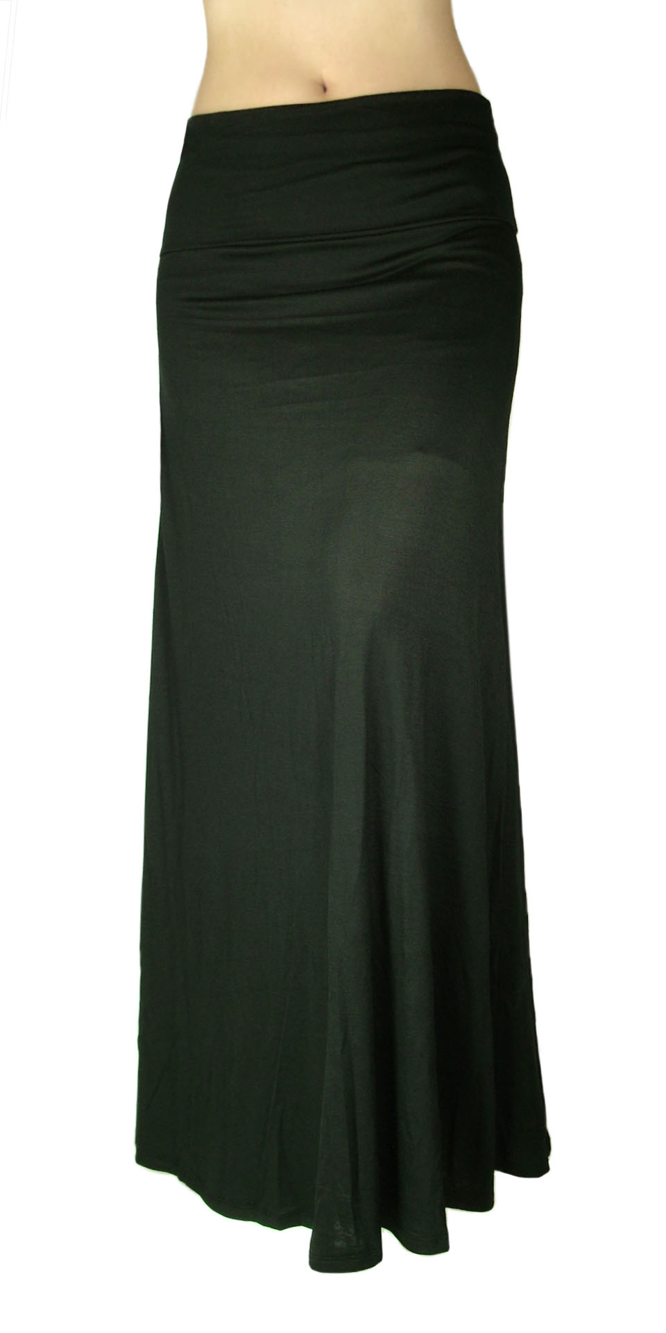 solid maxi skirt waist foldover black color
