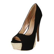 Qupid Nubuck Cut Out Peep Toe Platform High Heel Pump