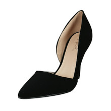 Qupid Fabric/Nubuck Pointy Toe D'orsay Pump