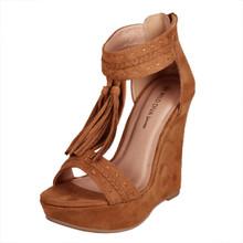 Wild Diva Lounge Camel Suede Wedge Sandal