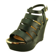 Qupid Leatherette Cutout Platform Wedge