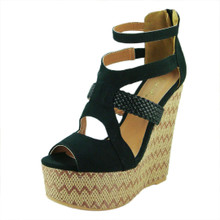 Qupid Faux Suede Strappy Pattern Platform Wedge
