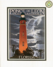 Ponce Inlet Lighthouse with Lightning Print