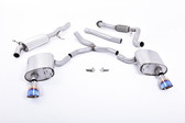 Milltek Sport Audi B9 A4 2.0T Road + Partial Resonated Cat-Back with Dual GT-100 Burnt Titanium Tips