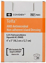 """Covidien 7665 TELFA ANTIMICROBIAL NON-ADHERENT Dressing, 4"""" X 5"""", STERILE TY/25, Case of 8"""