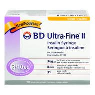 BD 320440 UltraFine II Syringe, 3/10CC, 8mm, 31G, 100/Box