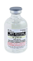 Hospira 6648050 Caloric Agent Dextrose / Water 50% Intravenous IV Solution Single Dose Vial 50 mL (Case of 25)