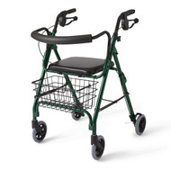 Medline MDS86810G ROLLATOR,DELUXE,GREEN,250 LBS,CURVED Barriatric
