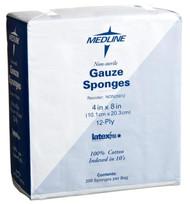 """Medline NON25812 WOVEN Non-Sterile GAUZE SPONGE,8""""X4"""",12-PLY,LF CS 2000/CS"""