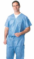 Medline NON27202L SHIRT,SCRUB,VNECK,BLUE,LARGE,DISPOSABLE CS 30/CS