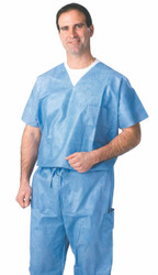 Medline NON27202XL SCRUB SHIRT,VNECK,BLUE,X-Large,DISPOSABLE CS 30/CS