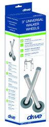 """Drive Medical 10111 3"""" Universal Walker Wheels with Two Sets of Rear Glides"""