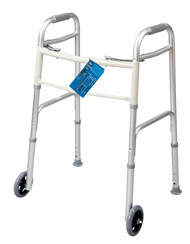 Carex A84790 FIXED WHEEL DUAL PADDLE ADULT FOLDING WALKER W/ GLIDES CS/2 (NON-RETURNABLE)