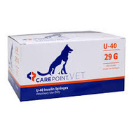 "CAREPOINT 12-4905 CAREPOINT VET INSULIN SYRINGES, U-40, 1/2CC, 29G, 1/2"" (12MM) - BX/100"