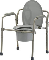 Invacare 96301 ALL-IN-ONE GRAY COATED STEEL COMMODE