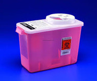Kendall 8982CRH CHEMOTHERAPY SHARPS CONTAINER W/ HINGED LID, 7.6L (2GAL)