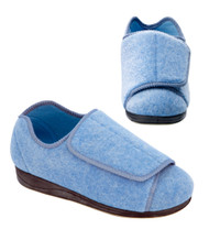 Silvert's 101000501 Womens Extra Extra Wide Width Adaptive Slippers , Size 5, DUSTY BLUE