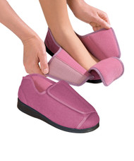Silvert's 101000208 Womens Extra Extra Wide Width Adaptive Slippers , Size 12, DUSTY ROSE