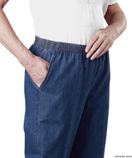Silvert's 130300104 Arthritis Elastic Waist Pull On Jean Pants For Women With 2 Pockets , Size 10, BLUE DENIM