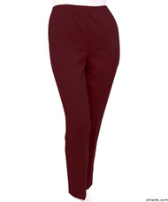 Silvert's 130900902 Womens Elastic Waist Polyester Pants 2 Pockets , Size 10, BURGUNDY