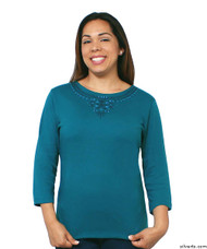 Silvert's 138530201 Womens Beautiful Embroidered T Shirt Top, Size Small, TEAL