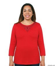 Silvert's 138530103 Womens Beautiful Embroidered T Shirt Top, Size Large, RED