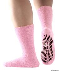 Silvert's 191400801 Hospital, Non Skid / Anti Slip , Fuzzy Gripper Socks , Size Regular, BABY PINK