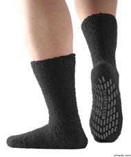 Silvert's 191400101 Hospital, Non Skid / Anti Slip , Fuzzy Gripper Socks , Size Regular, BLACK