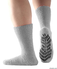 Silvert's 191400401 Hospital, Non Skid / Anti Slip , Fuzzy Gripper Socks , Size Regular, GREY