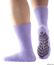 Silvert's 191410701 Hospital, Non Skid / Anti Slip , Fuzzy Gripper Socks , Size X-Large, LAVENDER