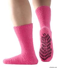 Silvert's 191410501 Hospital, Non Skid / Anti Slip , Fuzzy Gripper Socks , Size X-Large, PINK