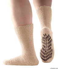 Silvert's 191410201 Hospital, Non Skid / Anti Slip , Fuzzy Gripper Socks , Size X-Large, BEIGE
