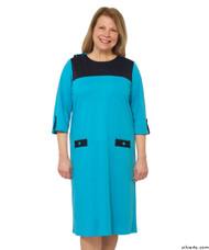 Silvert's 210500101 Womens Warm Nursing Home Wheelchair Adaptive Clothing Dress, Size Small, BLUE/NAVY