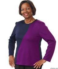 Silvert's 231900102 Adaptive Tops For Women , Size Medium, NAVY/PURPLE