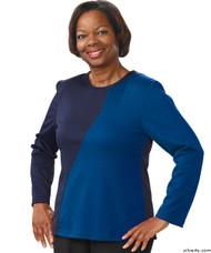 Silvert's 231900302 Adaptive Tops For Women , Size Medium, BLUE/NAVY