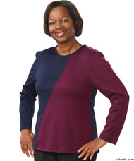 Silvert's 231900202 Adaptive Tops For Women , Size Medium, NAVY/AMETHYST