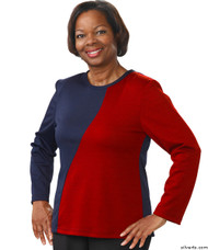 Silvert's 231900402 Adaptive Tops For Women , Size Medium, NAVY/RED