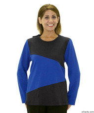 Silvert's 231900603 Adaptive Tops For Women , Size Large, COBALT