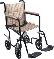 """Drive FW17DB 17"""" Deluxe Fly-Weight Aluminum Transport Chair, Black Frame and Tan Plaid Upholstery"""