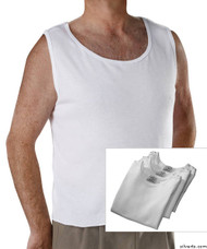 Silvert's 280450101 Mens Open Back Adaptive Under Vests, Size Small, WHITE