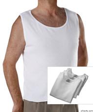 Silvert's 280450103 Mens Open Back Adaptive Under Vests, Size Large, WHITE