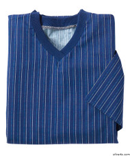 Silvert's 501201304 Mens Adaptive Cotton Hospital Patient Nightgowns , Size Large, NAVY PINSTRIPE