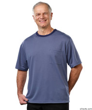 Silvert's 505400203 Adaptive Tshirt Top For Men , Size Large, STEEL BLUE