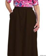 Silvert's 131300208 Womens Regular Elastic Waist Skirt With Pockets , Size 18, CHOCOLATE