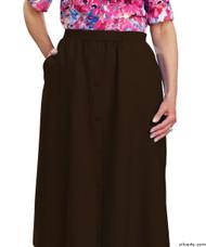 Silvert's 131300209 Womens Regular Elastic Waist Skirt With Pockets , Size 20, CHOCOLATE